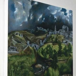 """""""Vedere spre Toledo"""" de El Greco, reproducere canvas  70 x 70 cm"""