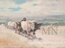 Car cu boi, de Nicolae Grigorecu, pictura in ulei din Galeria Nationala de la Muzeul National de Arta al Romaniei
